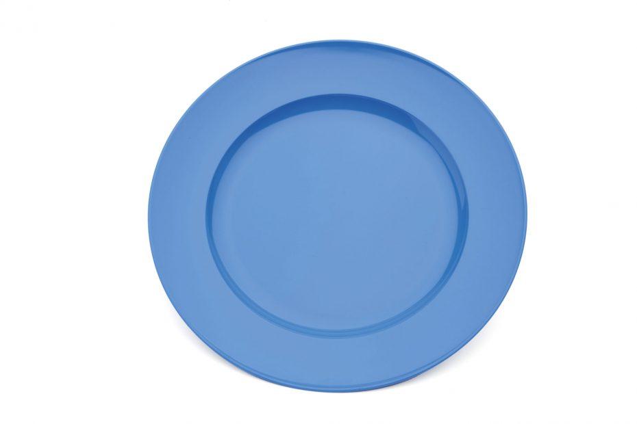 Blue Wide Rimmed Dessert Plate