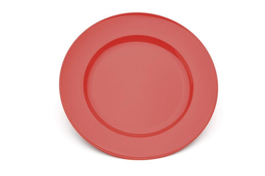 Red Wide Rimmed Dessert Plate