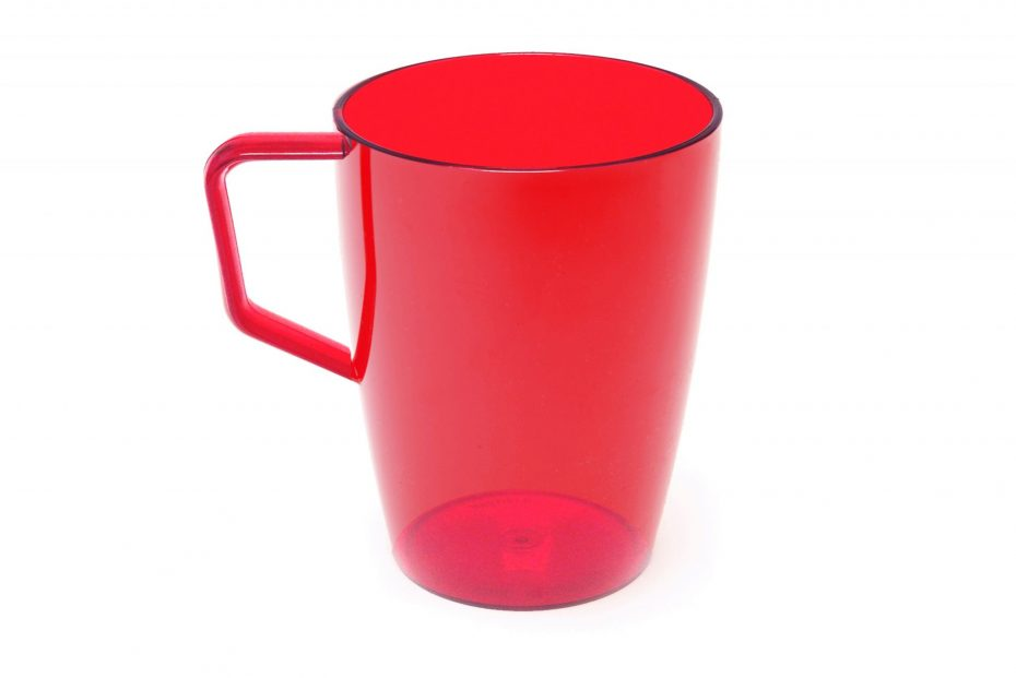 Beaker with Handle Translucent Red