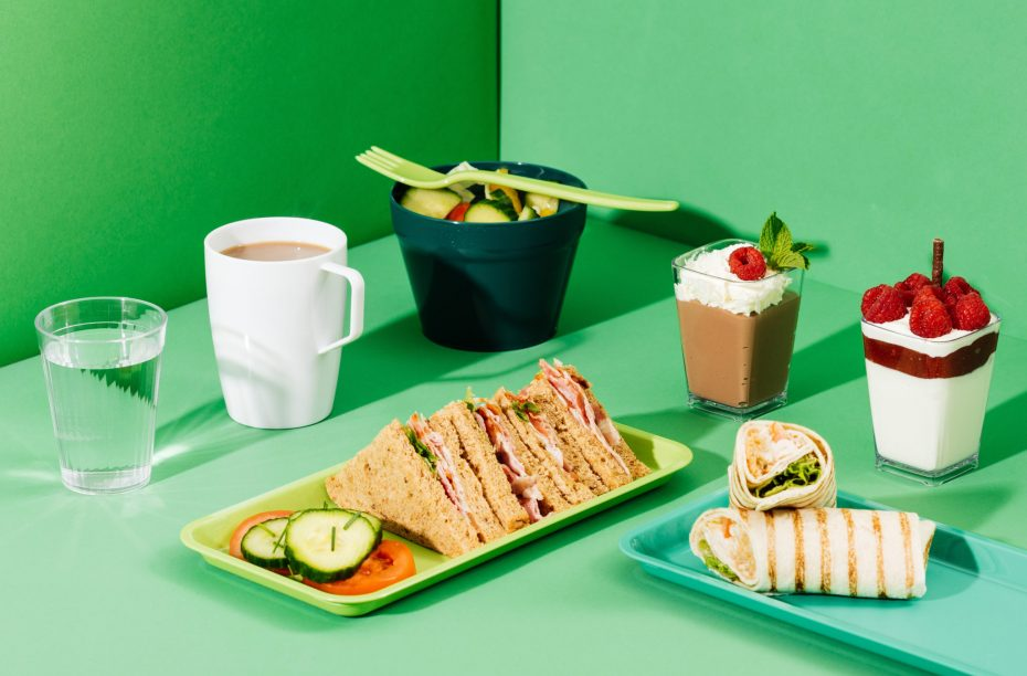 Green Sandwich Platter and Salad Pot