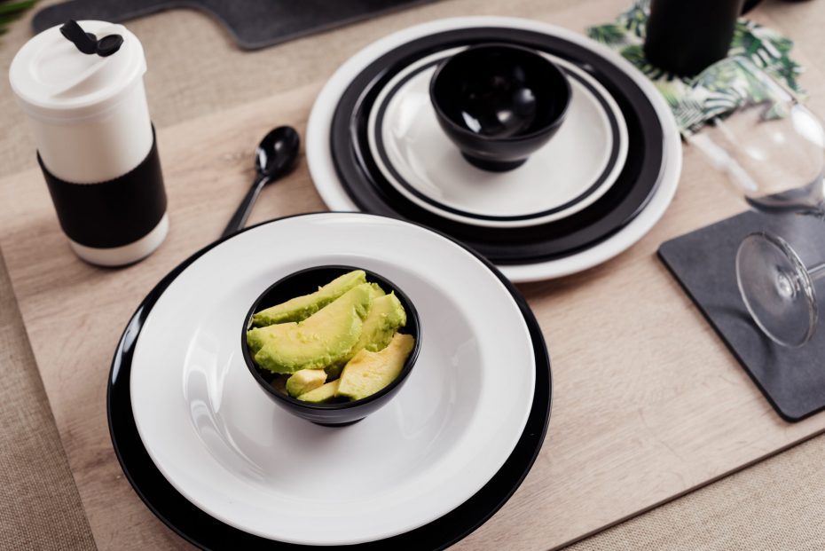 White and Black Dinner Plates