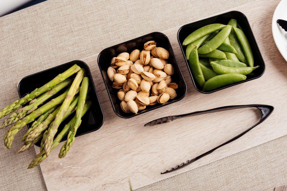Ingredient Prep in Black Square Dishes