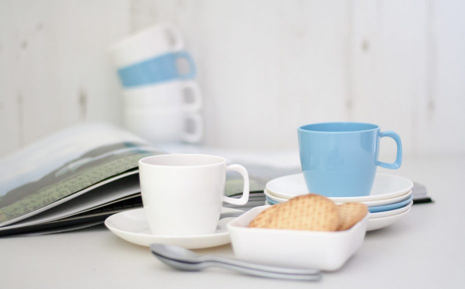 White and Pastel Blue Cups and Saucers