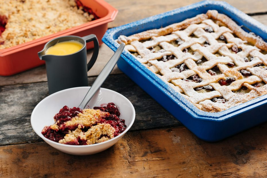 Crumble Pie in a Blue Half Gastronorm