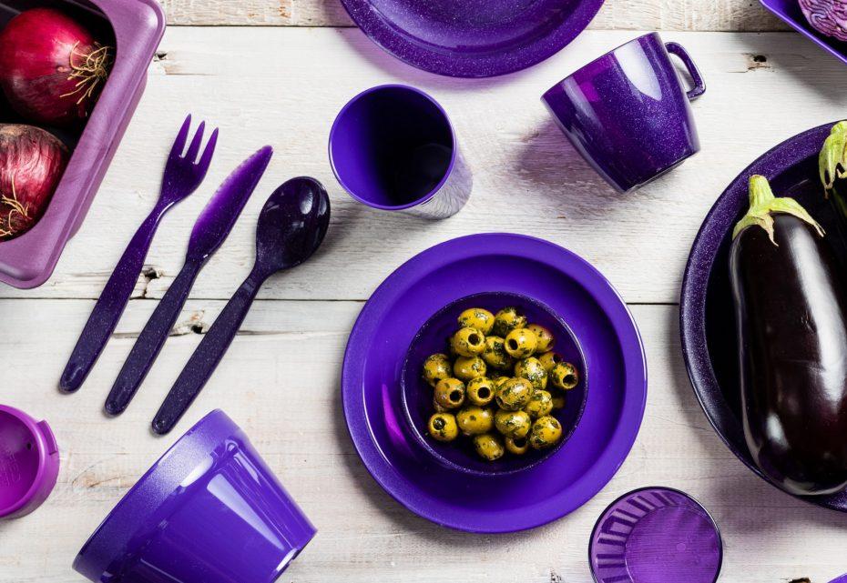 Olives in Purple Sparkle Bowl