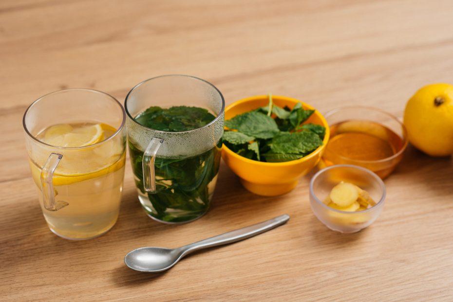 Herbal Tea in Clear Plastic Mugs