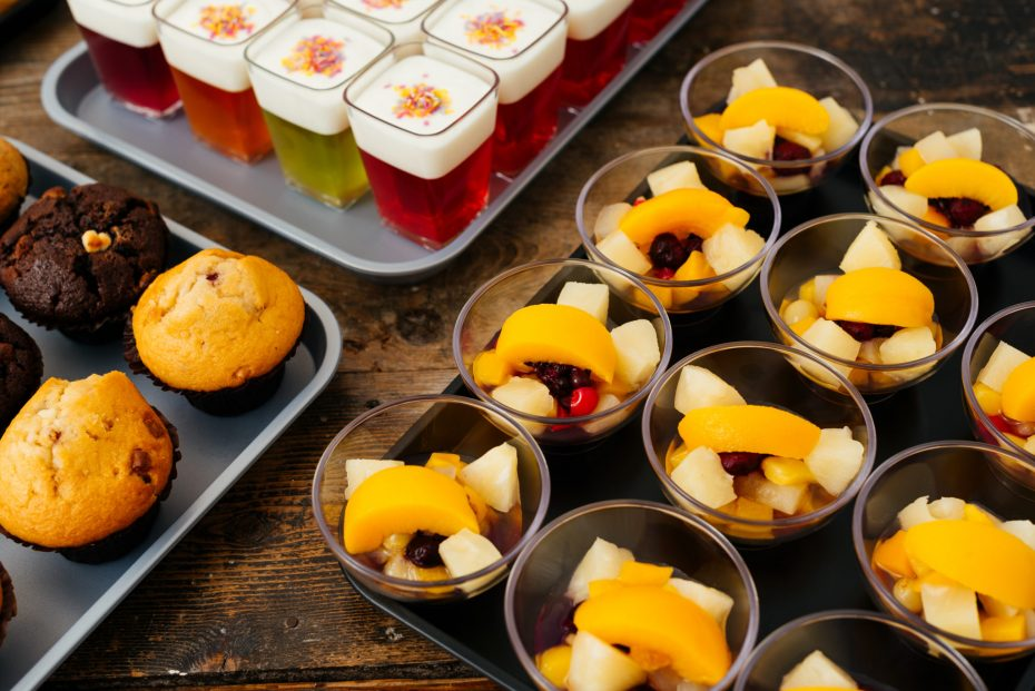 Fruit Salads in Small Clear Bowls
