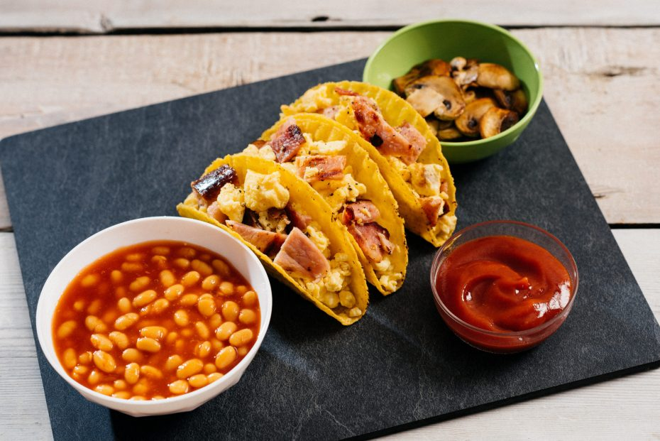 Taco Breakfast on a slate food platter