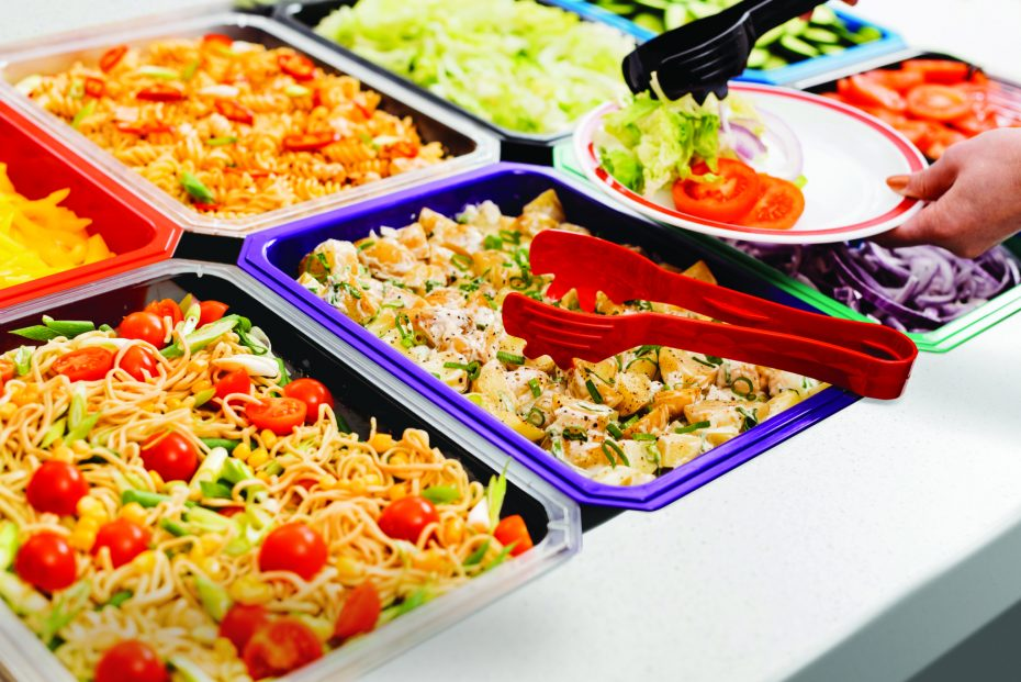 Salad Bar with coloured half gastronorms and serving tongs