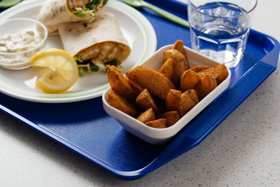 School Meal on a Blue Tray with Handles