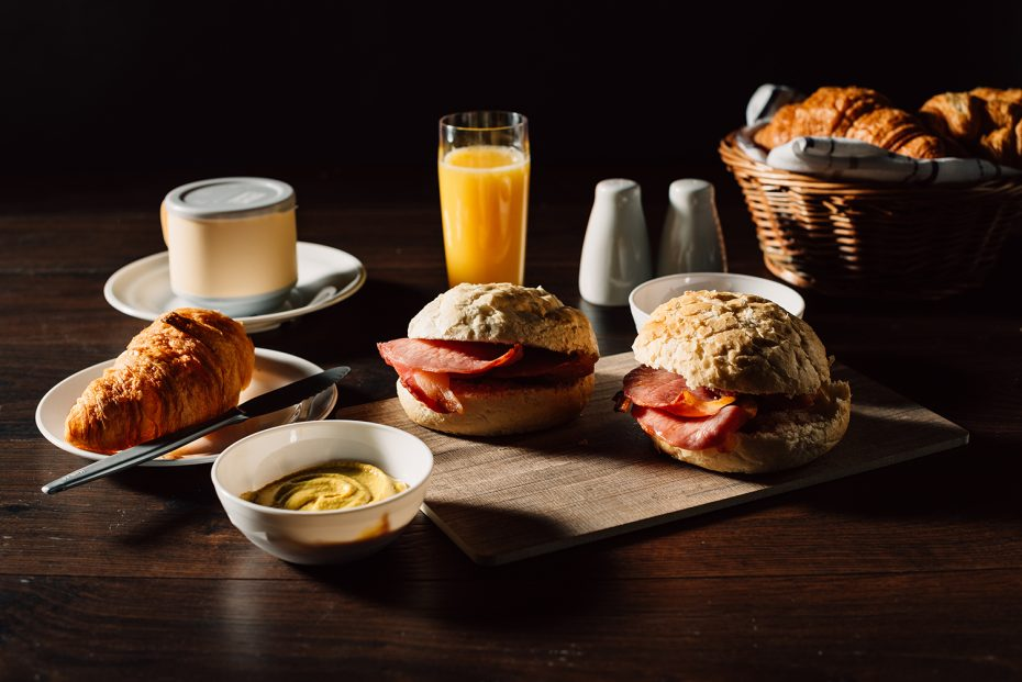 Vintage Wood Style Board with Bacon Butties