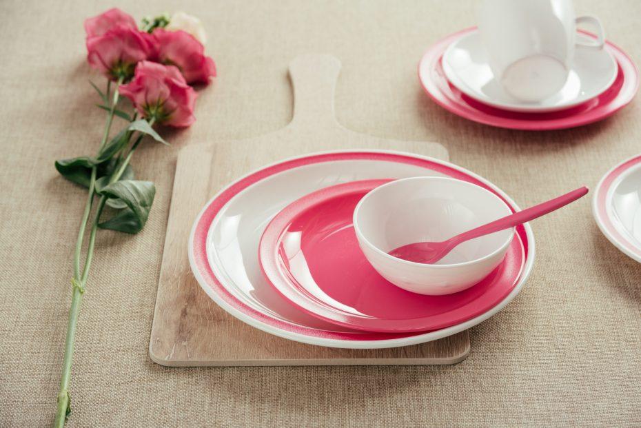 Pink Pastel and White Dinnerware Set