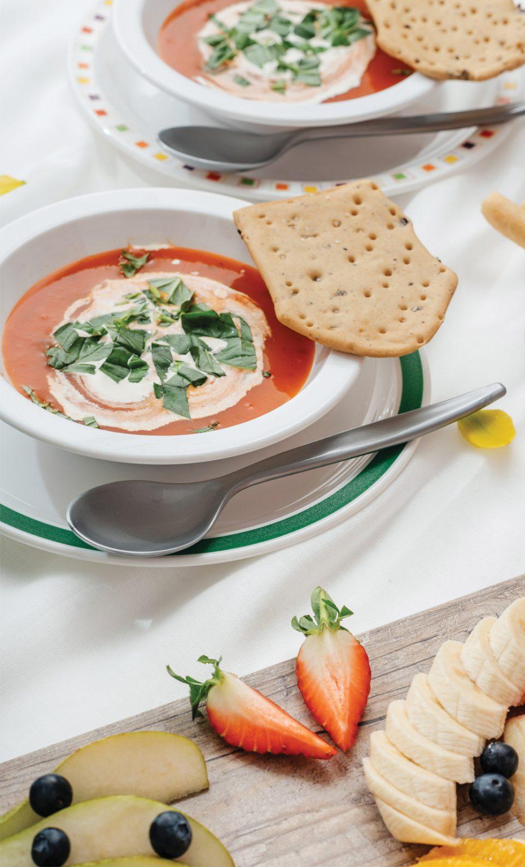 Tomato Soup in White Narrow Rimmed Bowl