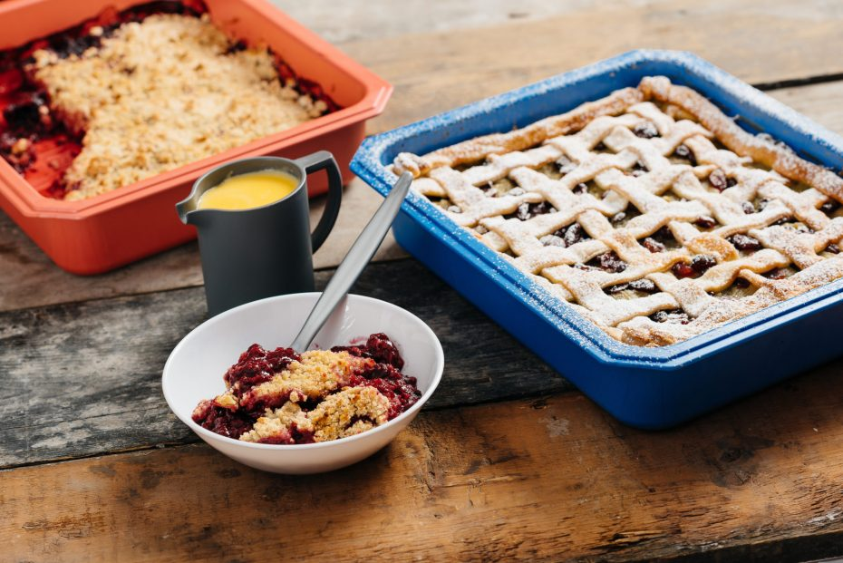 Cranberry Crumble in blue baking tray