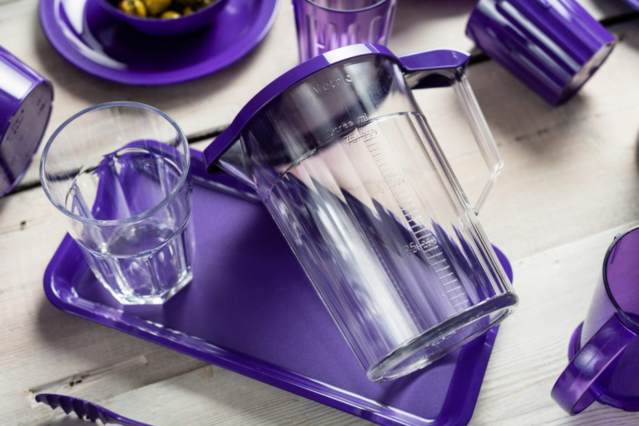 Bedside Locker Set with Jug, Tumbler and Purple Tray