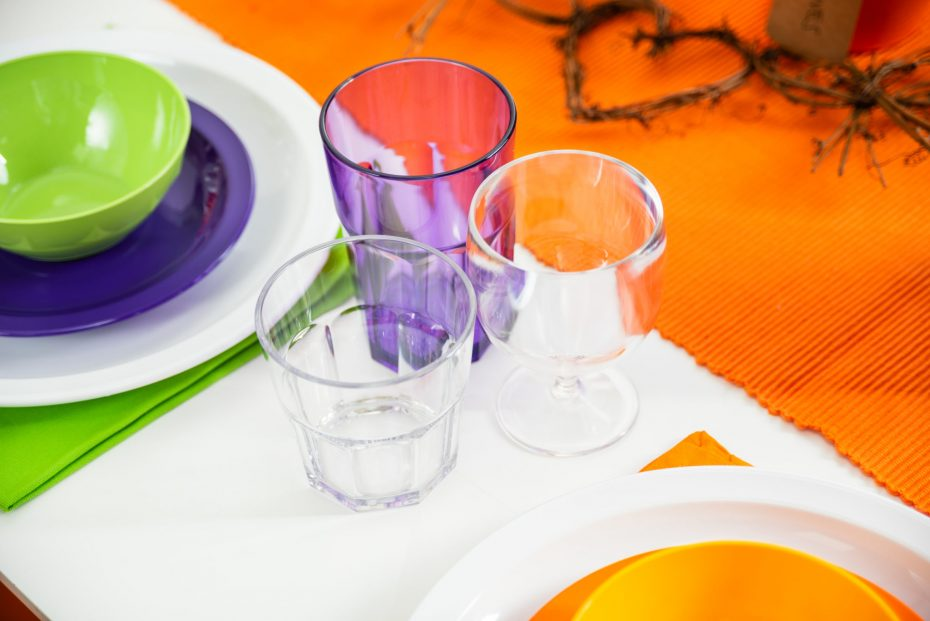 Small Clear Tumbler, Medium Purple Translucent Tumbler and a Stemmed Glass