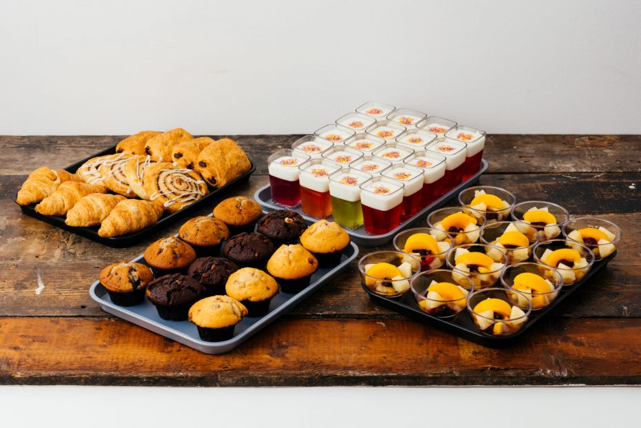 Baking Trays with pastries and muffins