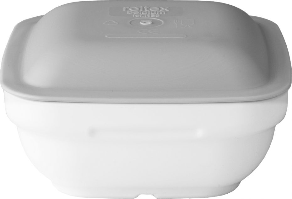 White Square Salad Bowl with Grey Lid
