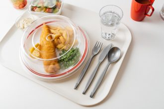 Fish and Chips on a Large Plate with Cloche