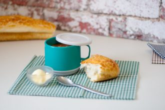 Jade Thermal Cup with Soup and a Bread Roll