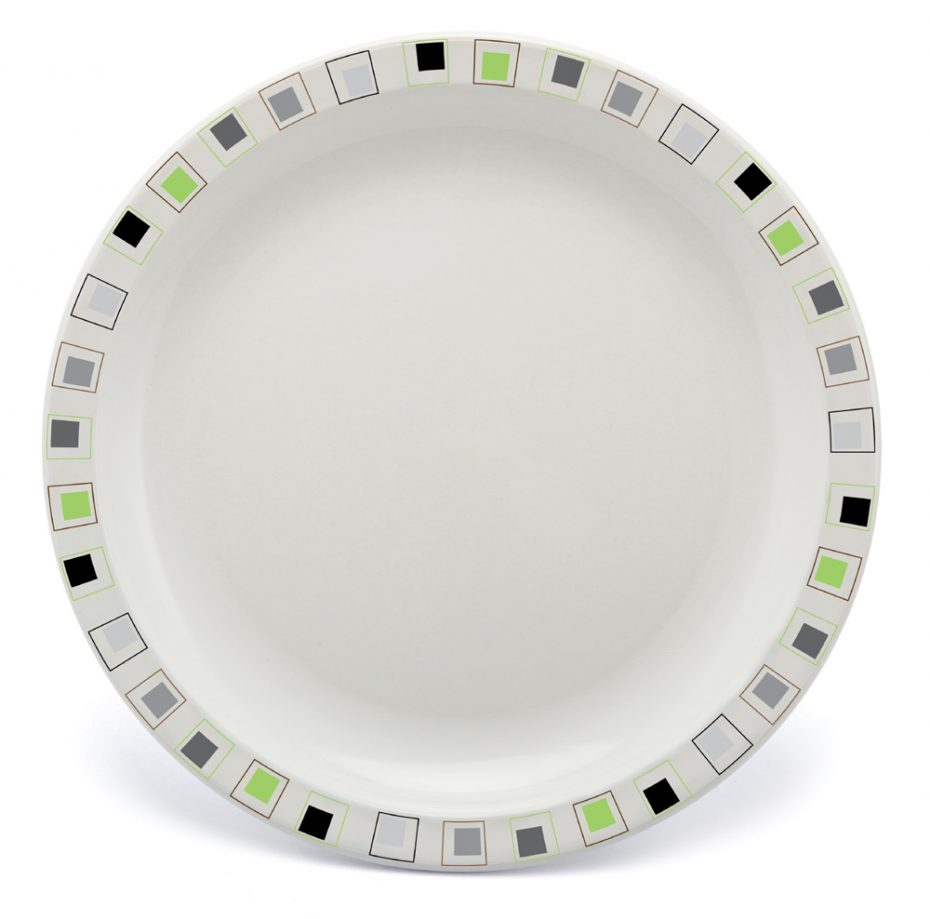 Abstract Squares Plate in Lime and Black