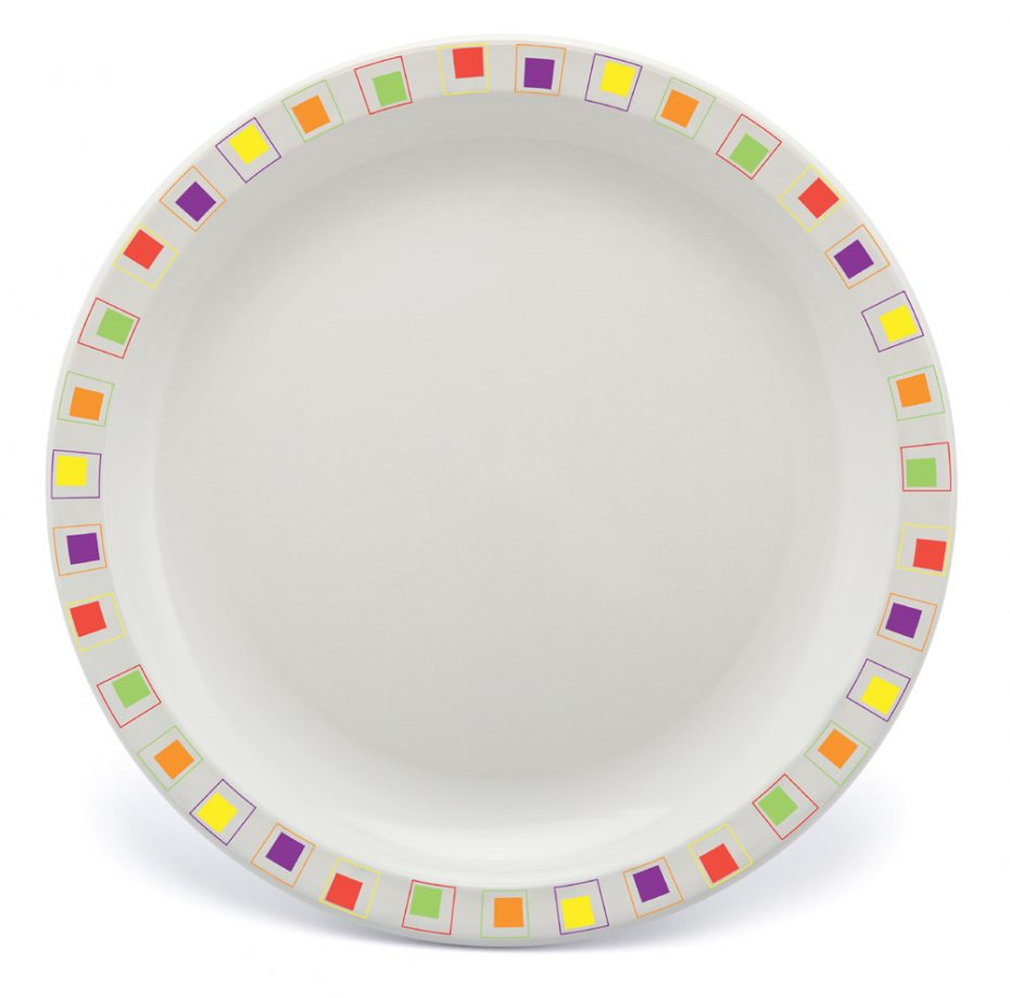 Multicoloured Abstract Square Plate