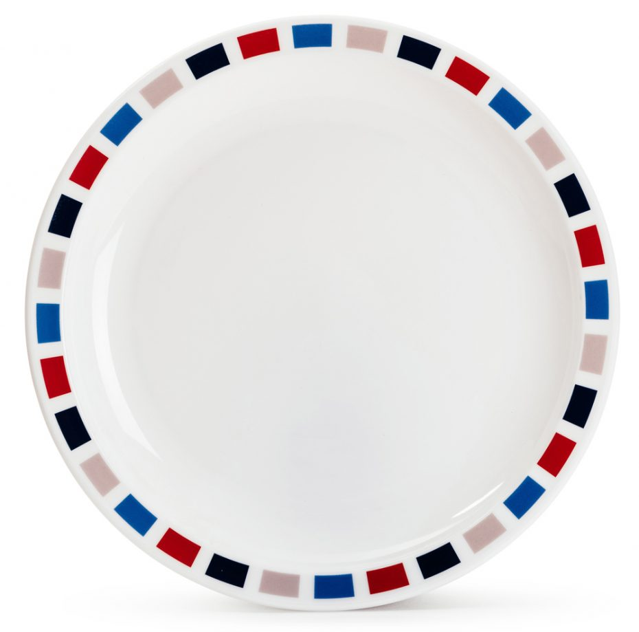 Rectangle Pattern Plate in Blue and Red