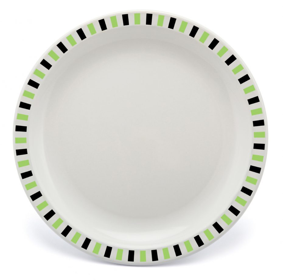 Lime and Black Stripe Patterned Duo Plate
