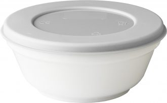 White 450ml Bowl with a Grey Lid