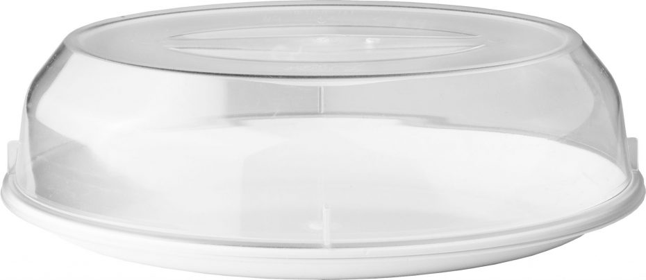White Oval Plate with a Clear Low Cloche