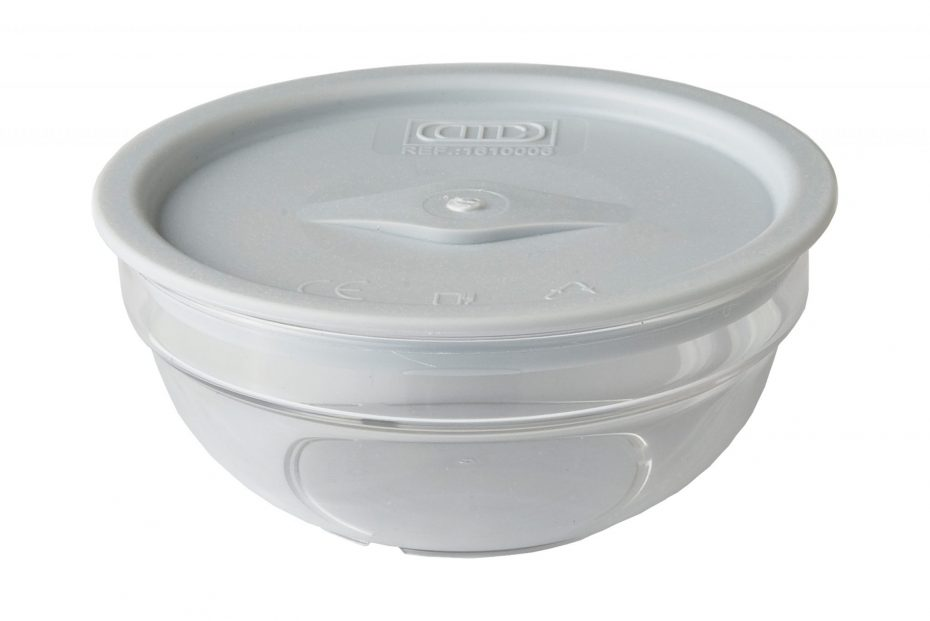Clear Small Bowl with Grey Lid