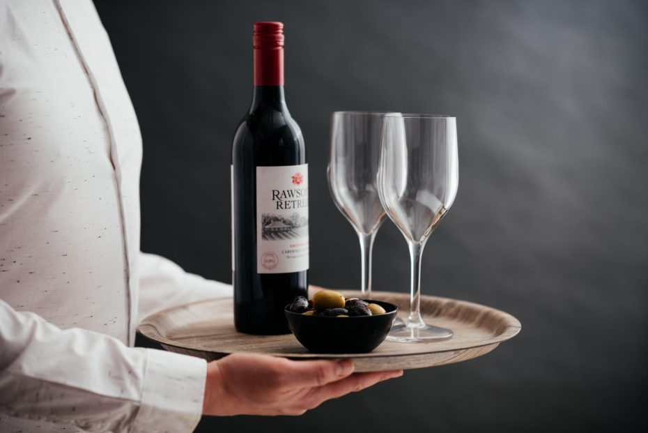 310ml Wine Glasses with Red Wine Bottles and Olives