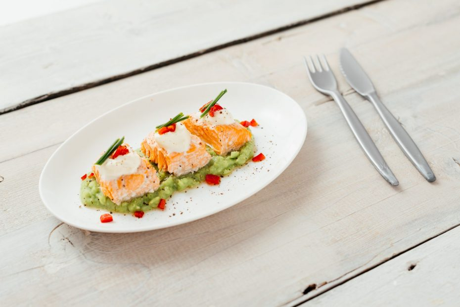 White Oval Plate with Salmon Dish