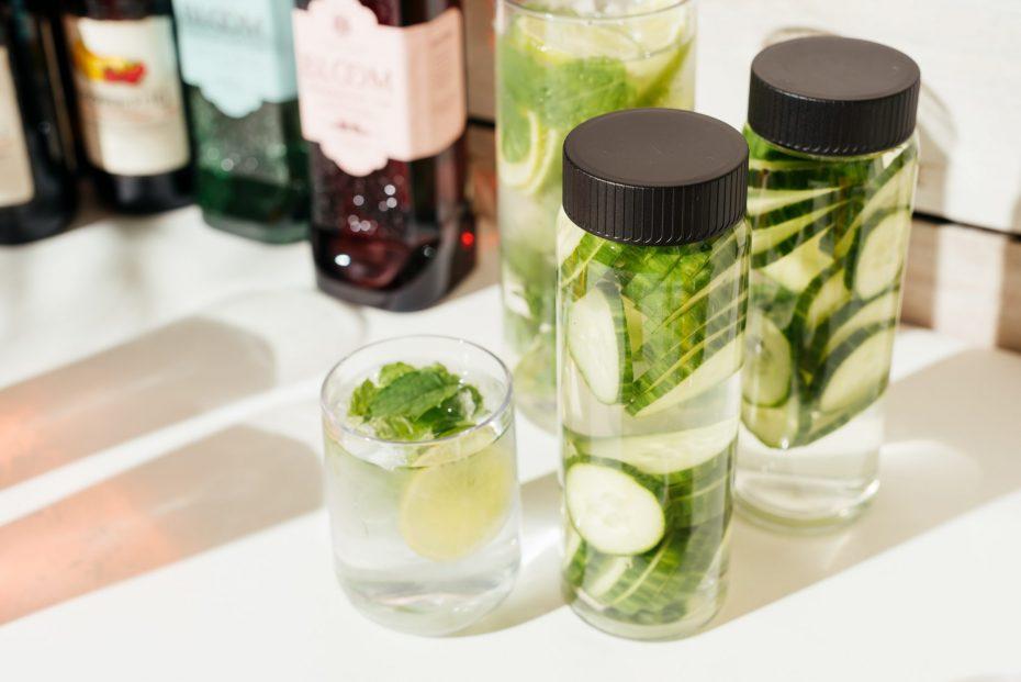 Cucumber Water in a small Aqua tumbler