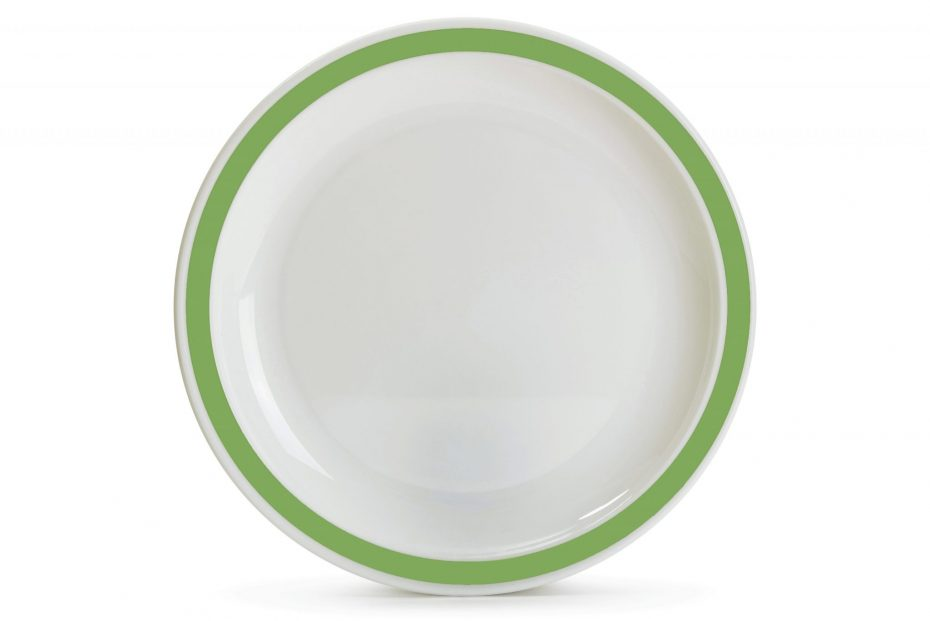 Extra Large Duo Plate with Apple Green Rim