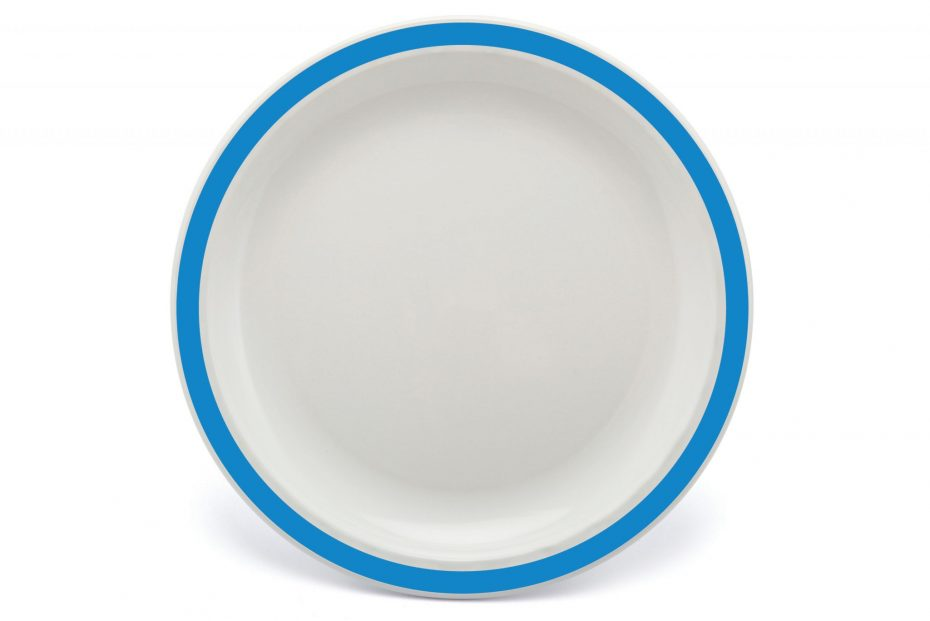Extra Large Duo Plate with Blue Rim