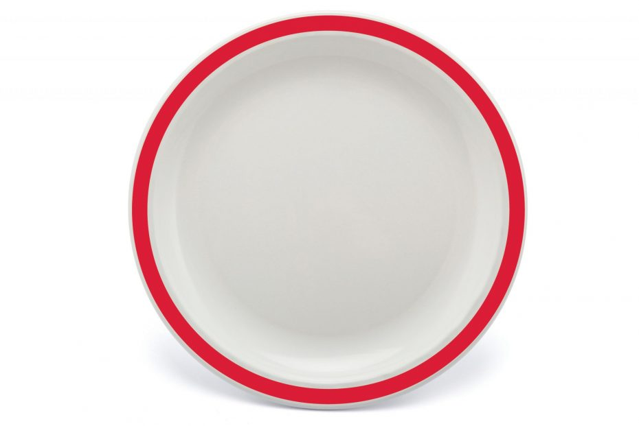 Extra Large Duo Plate with Red Rim