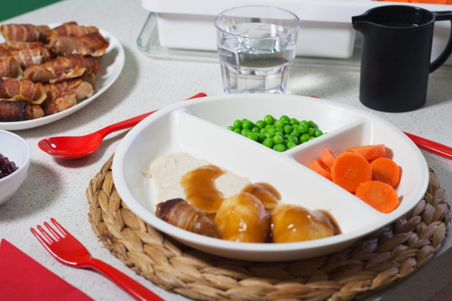 Roast Dinner in a 3 Compartment Plate