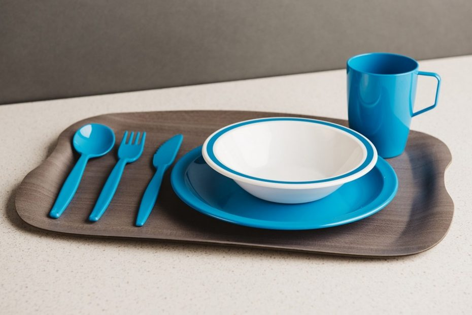 Grey Wood Large Earth Wave Tray with Blue Tableware