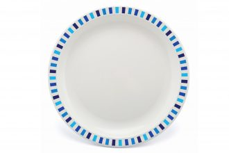 Extra Large Patterned Plate with Blue Stripe Rim