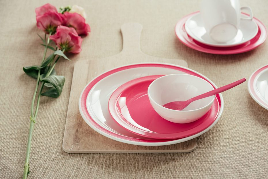 Pink Teaspoon in a White Small Bowl