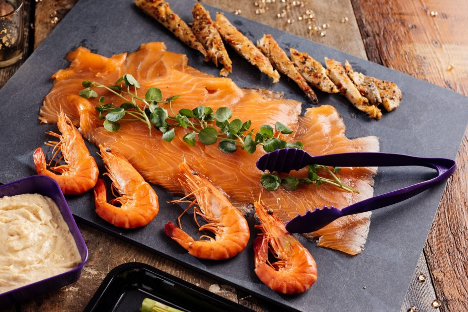 Smoked Salmon on Slate Platter with Serving Tongs
