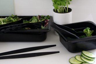 Black Tweezers Tongs and Salad Containers