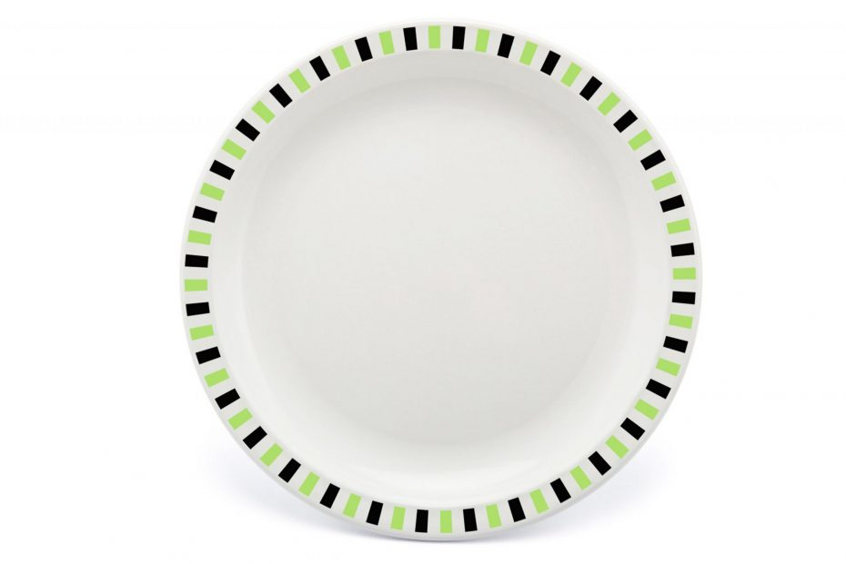 Extra Large Patterned Plate with Lime and Black Stripe Rim
