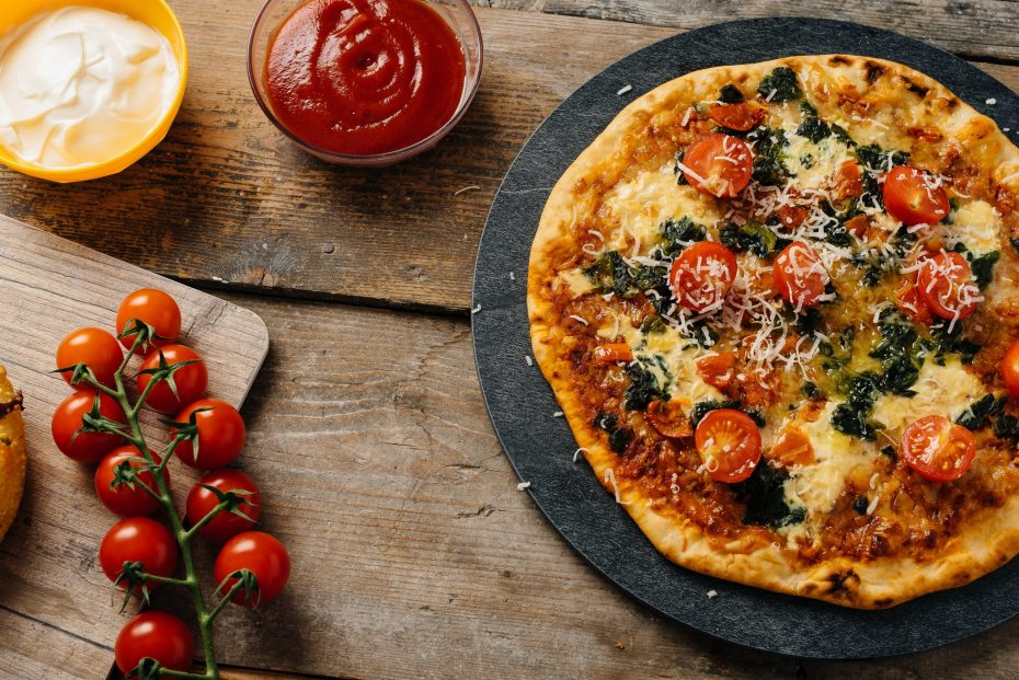 Pizza Served on a Slate S-Plank