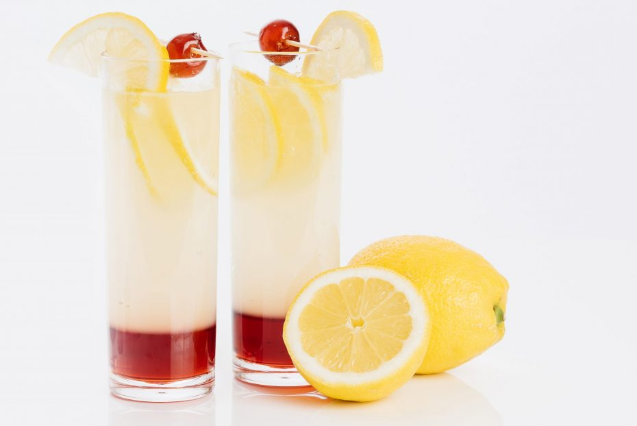Cherry Lemon Cocktail in a Long Drink Glass