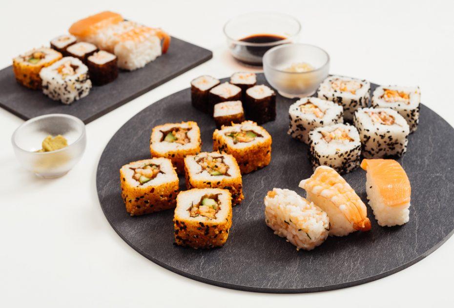 Sushi Served on a Slate S-Plank