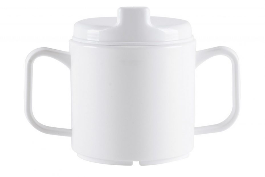 2 Handled White Mug with Sipper Lid