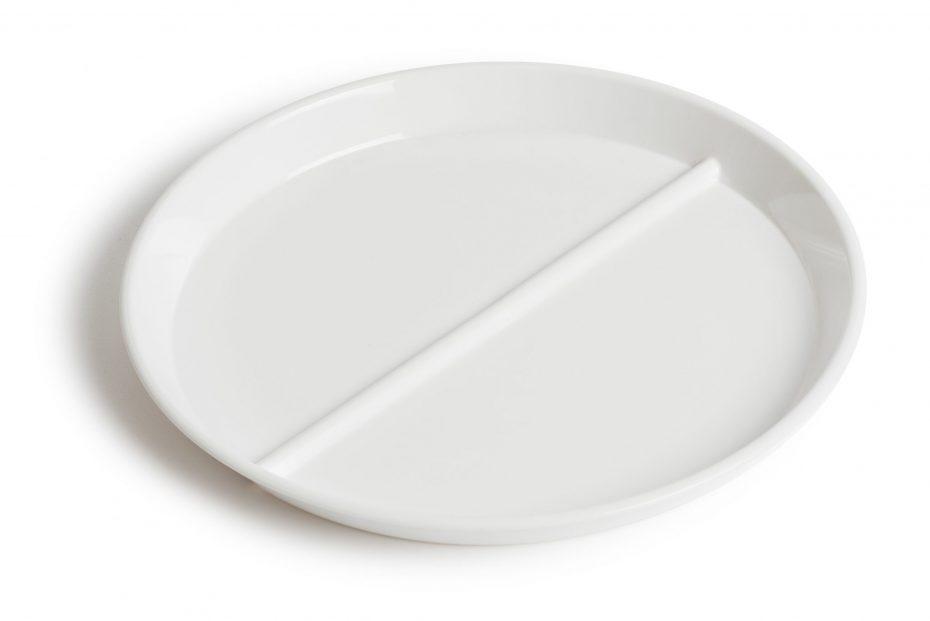 White 2 Compartment Plate