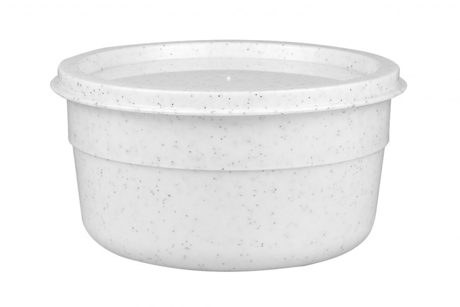 500ml White Speckle Bowl with Lid